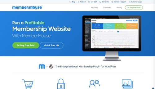 Page d'accueil de MemberMouse