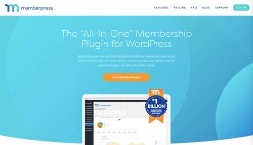 Page d'accueil de MemberPress
