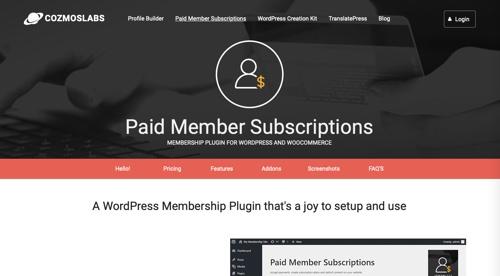 Page d'accueil des abonnements de membres payants