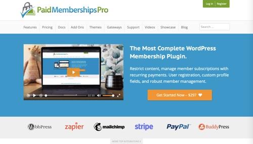 Page d'accueil pour les abonnements payants Pro