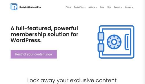 Page d'accueil de Restrict Content Pro