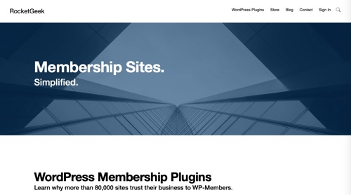Page d'accueil des membres WP par RocketGeek