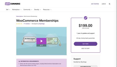 Page d'accueil des adhésions WooCommerce